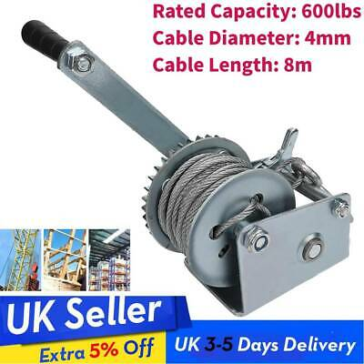 600Lb Manual Marine Boat Trailer Hand Power Winch+8M Wire Cable Pull Lift Loads