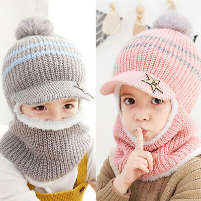 Kids Toddler Girls Boys Winter Hat Scarf Fleece Earflap Hood Scarves Visor Caps