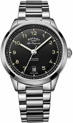 Rotary Men's Automatic Watch with Black Dial Analogue Display and Stainless S...