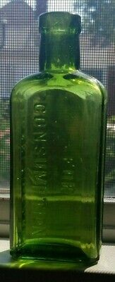 Pretty Emerald Green Color Pisos Cure 4 Consumption Hand Blown 1900 Era