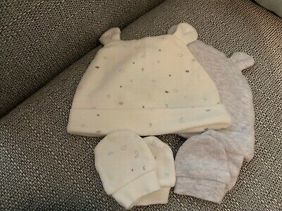 Baby Hat and 2 Pairs Scratch Mittens 100% Cotton Newborn Unisex