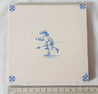 Charming Antique Delft Tile With Musketeer