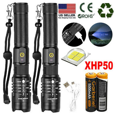 900000Lumens Zoomable XHP50 Tactical LED USB Rechargeable 18650 Flashlight Torch