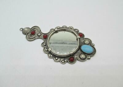 33 Gram Antique Sterling Silver Carnelian And Turquoise Hand Mirror