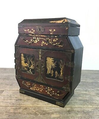 Antique 19th Century Japanese Lacquered Wood Hand Painted Table Top Cabinet.