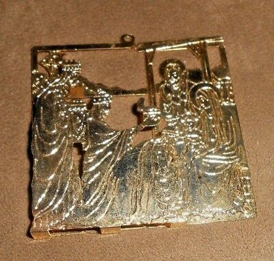 Solid Brass Metal 3-D Nativity Christmas Holiday Ornament