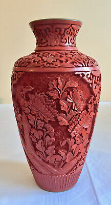Chinese Cinnabar Vase Floral China Vintage Asian Decor Hand Carved 9 inch