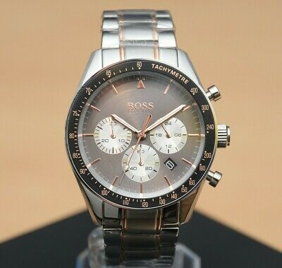 Brand New Hugo Boss Trophy Grey Chronograph Stainless Steel Mens Watch 1513634