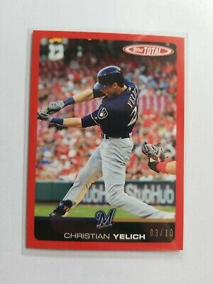 2019 Topps Total Wave 6 #501A Christian Yelich red parallel #03/10