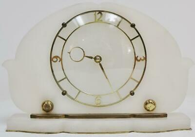 Antique English Art Deco Alabaster Desk Mantel Clock, Platform Escapement