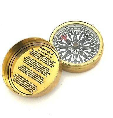 Brass Pocket Compass with Robert Frost Poem