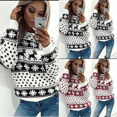 Ladies Womens Christmas Jumper Reindeer Snowflake Blouse Xmas Jumper Knit Tops