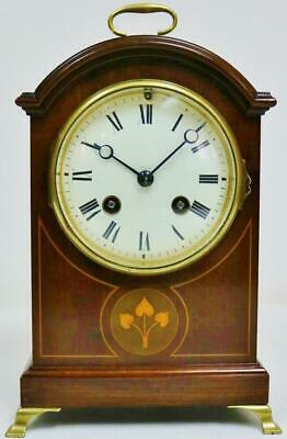 Antique French 19thC 8 Day Gong Striking Inlaid Mahogany Arched Top Mantel Clock