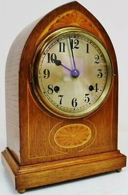 "Antique English ""The Renown"" 8 Day Gong Striking Inlaid Oak Lancet Mantel Clock"
