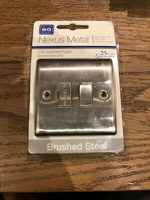 BG Brushed Steel 13a Switched Fused Spur. New Still In Box Never Opened
