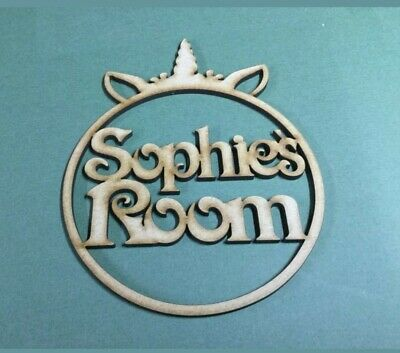 MDF Laser Cut -  Name in circle with unicorn room sign