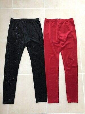 ⚡️New Girls NEXT 2 Pairs Velour Sparkly Leggings Age 10 Years Girls Party wear