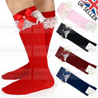 Girls Knee High Bow Lace Socks Spanish Style Soft Cotton Rich Uk Designer Kids