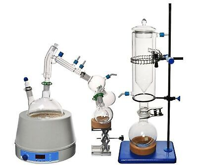 Short Path Distillation Set with Cold Trap, 2000 ml (Glassware Only)
