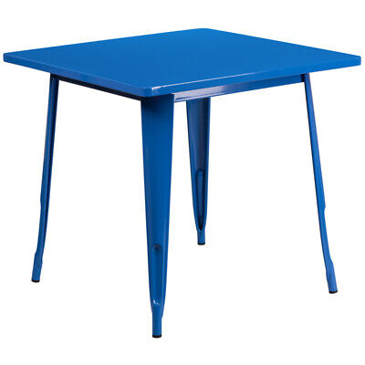 """31.5"""" Square Industrial Style Blue Metal Indoor & Outdoor Restaurant Table"""