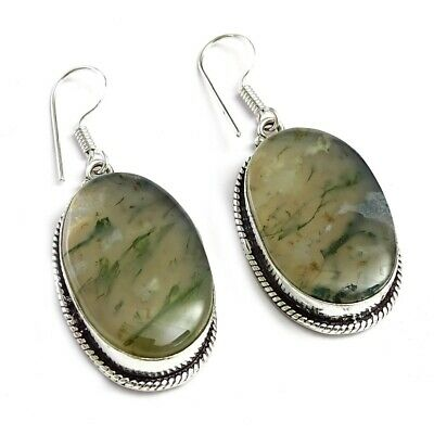 Moss Agate Fantastic Gemstone Silver Plated Earring Jewelry 1.5 to 3.5'' fv616