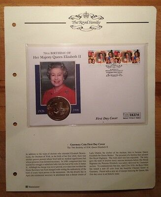 1996 QUEEN ELIZABETH II 70th BIRTHDAY GUERNSEY FIRST DAY COVER & £5 COIN