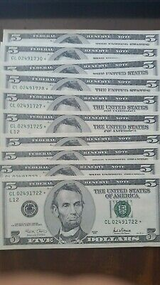 10 x $5 dollar star notes  uncirculated
