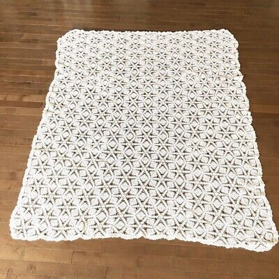 "Vintage Handmade Crochet Geometric Tablecloth Rectangle White Cotton 63.5"" X 52"""