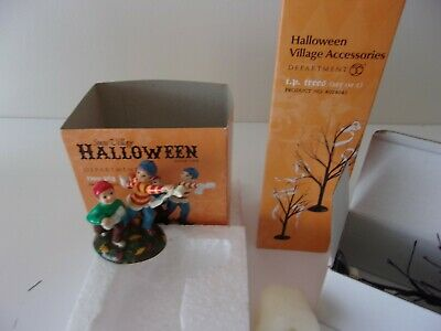 Dept 56 Snow Village Halloween Two Play Fun and T. P. Trees