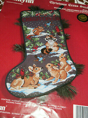 1992 JANLYNN COUNTED CROSS STITCH WOODLAND CREATURES STOCKING KIT started