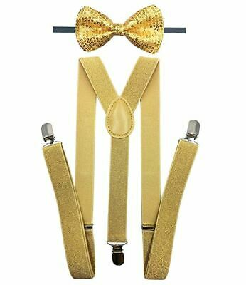Suspender with Matching Sequin Bow Tie Set |Elastic, Adjustable, Y-Back| Gold