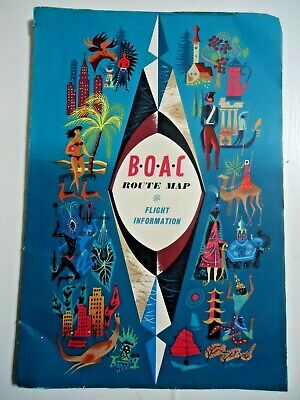 B.O.A.C. Route Map. Flight Information. On board booklet. 1960's