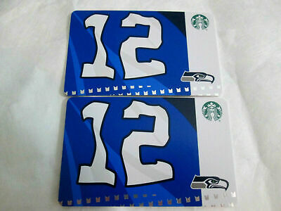 LOT OF 2 NEW Starbucks SEATTLE SEAHAWKS 12th Flag Gift Card 2019