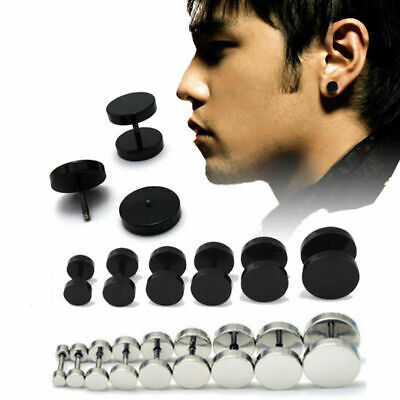 Earring Mens Womens Round Black Barbell Punk Gothic Stainless Steel Stud Earring