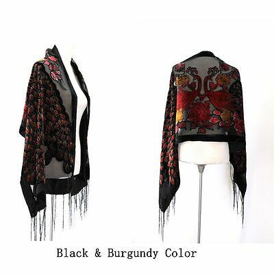 B56 Peacock Black Lace Sequin Heart Scallop Embroidery Scarf Shawl Wrap $129