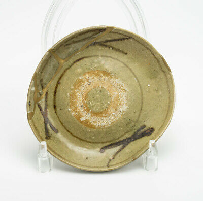 Rare Karatsu Japanese Pottery Plate Excavation Goods Repair Over 400 Years Ago