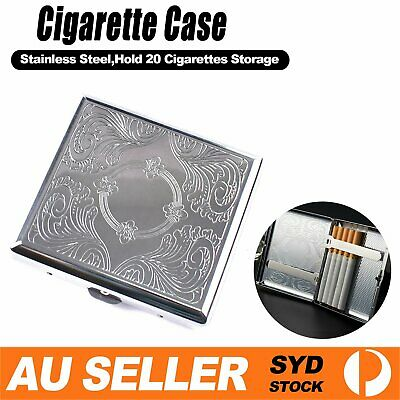 Stainless Steel Metal Silver Cigarette Case  Pocket Pouch Box Hold 20 Cigarettes