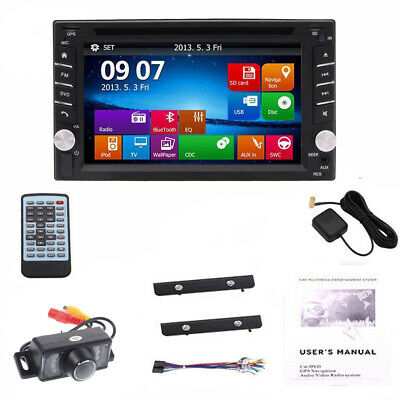 Backup Camera+GPS Double Din Car Stereo Radio DVD MP3 Player Bluetooth +Map Card