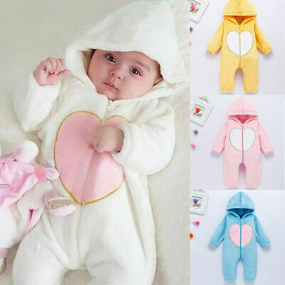 UK Newborn Toddler Baby Girl Boy Hooded Romper Jumpsuit Winter Outfits Clothes