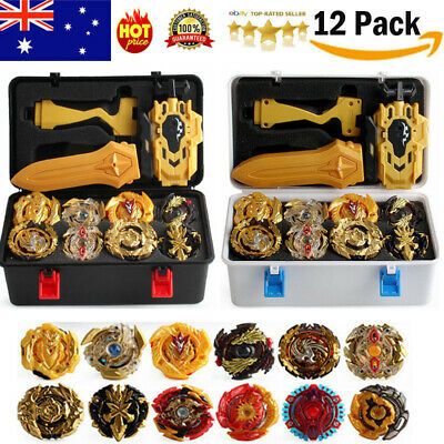 12PCS Beyblade Gold Burst Set Spinning With Grip Launcher+Portable Box Case Toys