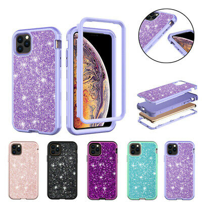 For iPhone 11 Pro Max Bling Glitter Case Shockproof Hard PC+Silicone Back Cover