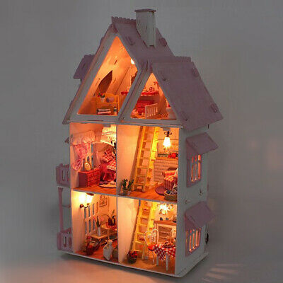 Wooden DIY Doll House The Furniture Dolls Dollhouse Miniature Kit Kids Gift