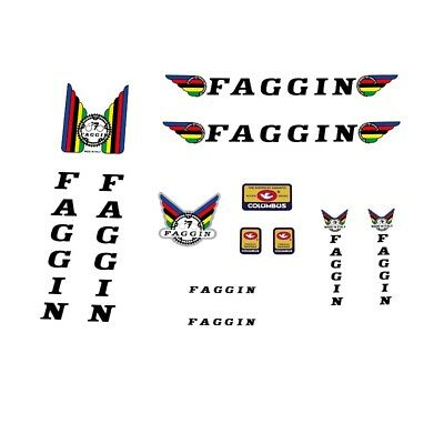 0904 Faggin Bicycle Stickers Transfers Red Text With Black Key Decals