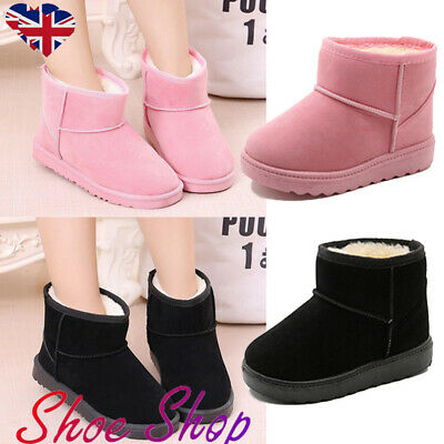 Kids Boys Girls Fur Lined Slip On Snowboots Ankle Boots Winter Warm Shoes Size