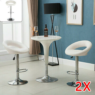 2 Bar Stools White Leather Chair Breakfast Chairs Swivel Lift Kitchen Cushioned
