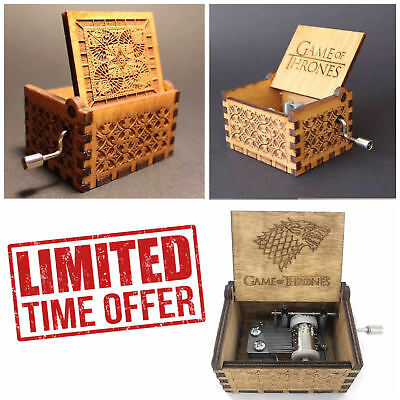 Game of Thrones Theme Music Box Engraved Wooden Crafts Interesting Toys Xmas