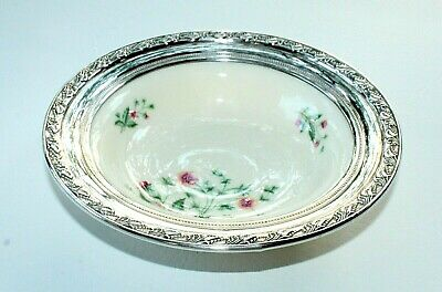 "LENOX COUNTRY GARDEN W302 FISHER STERLING SILVER RIMMED PORCELAIN BOWL 7"" d."