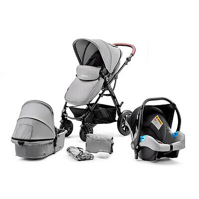 Kinderkraft Pram 3in1 Set MOOV Travel System Baby Pushchair Buggy Foldable Gray