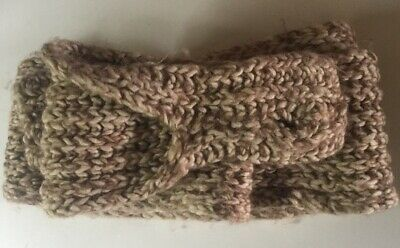 Vtg 80s Cream Brown Wool Hand Knitted Scarf Fingerless Gloves Novelty Onesize
