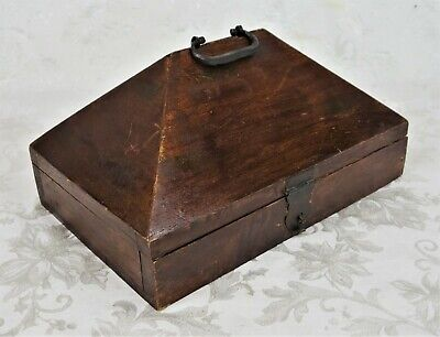Antique 19th Century Primitive Wood Indian Wooden Dowry Box